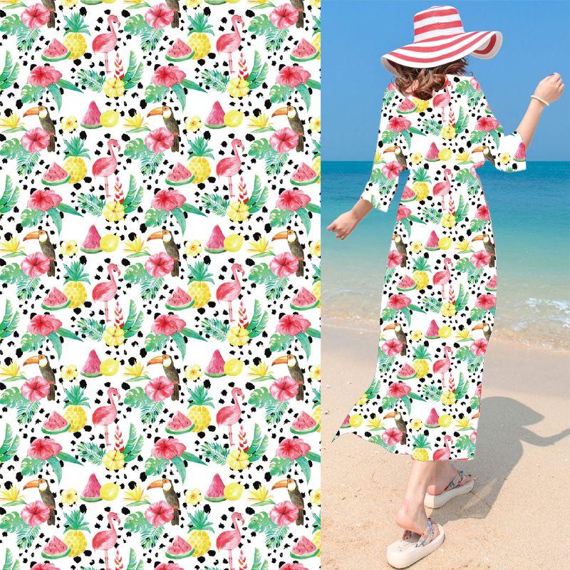 Watermelon Pineapple Flamingo Chiffon Fabric Digital Printing Hawaii