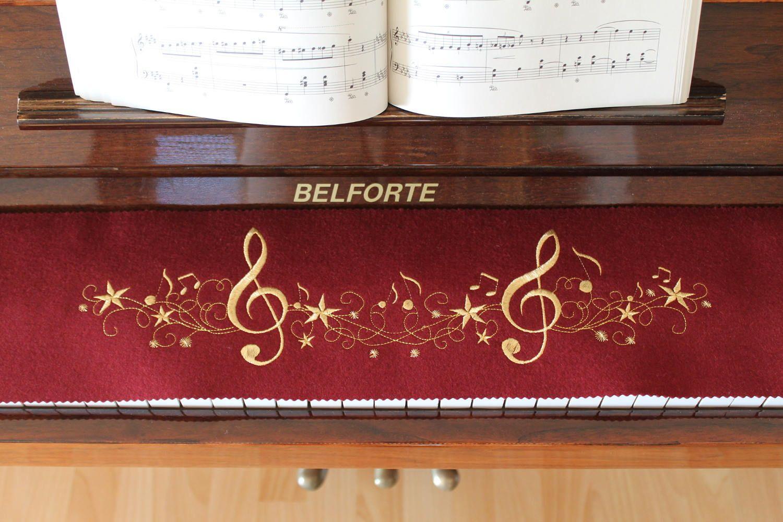 Schrejderiha Klavierläufer Tastenläufer bestickt aus 100/% Wolle Bordeuxrot