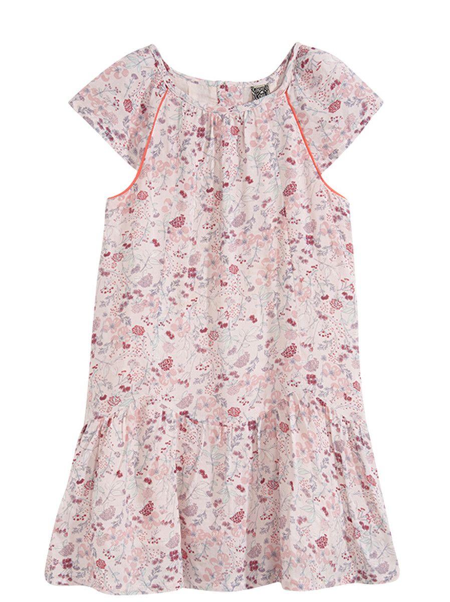 LA ROBE BLEUET :                     Une robe fleurie pour les réunions de famille de cet été !            LA ROBE BLEUET, col rond, mancherons, fermeture par zippe au dos, imprimé fleuri, détail rose fluo, forme évasée, volant, doublée.