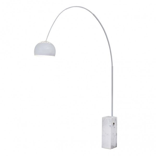 Large Curved Floor Lamp with White Marble Base   House stuff ...