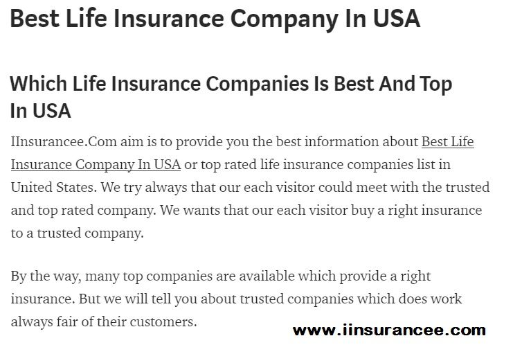 Iinsurancee Com Has Written New Post Now About Best Life Insurance