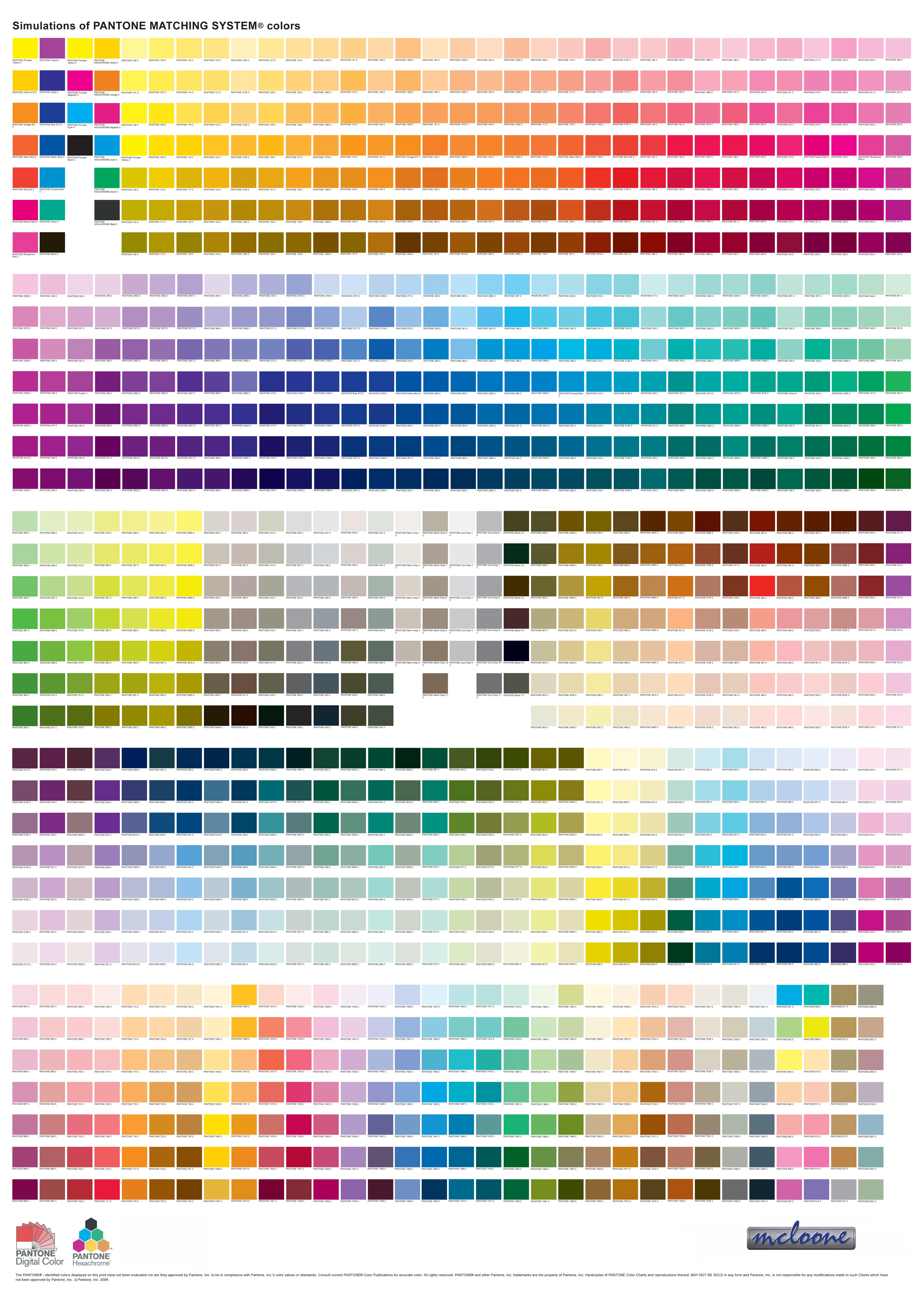 Pantone Color Chart 21st Century Color Rgb Cmy Pinterest