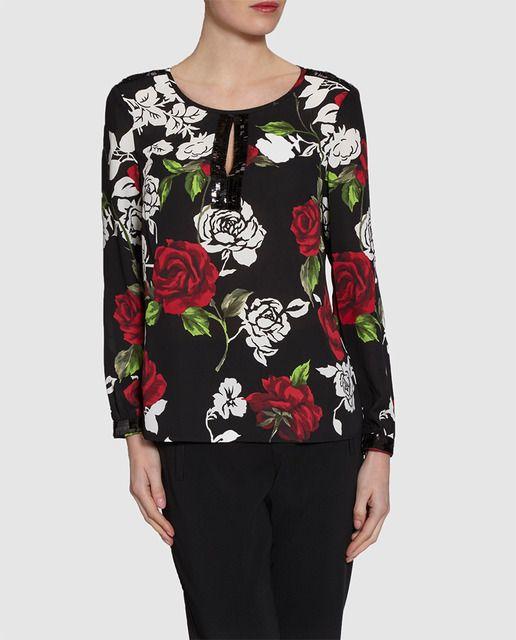 d526388f3ec10 Blusa de mujer Gina Bacconi con estampado de flores y lentejuelas ...