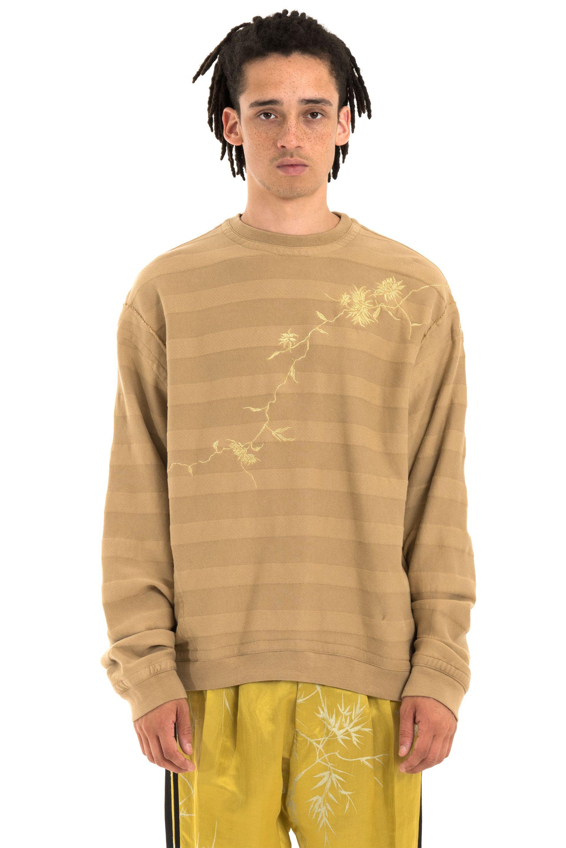 50128be96fcc Haider Ackermann Camel Floral Embroidered Sweatshirt. - Rib knit crew neck  collar, cuffs,
