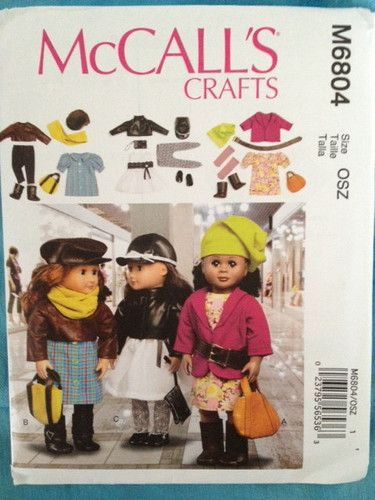 """McCall's Pattern M6804 18"""" Doll Clothes fits American Girl 3 outfits"""
