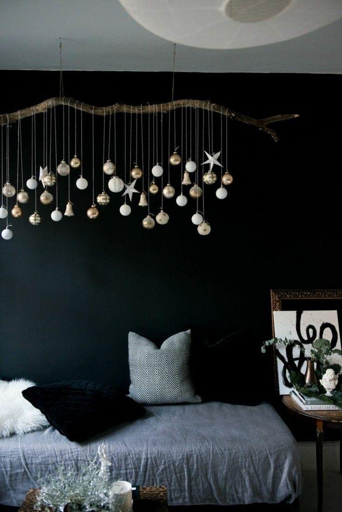 inneneinrichtung ausgefallene dekoideen schlafzimmer treibholz weihnachten dunkle wand. Black Bedroom Furniture Sets. Home Design Ideas