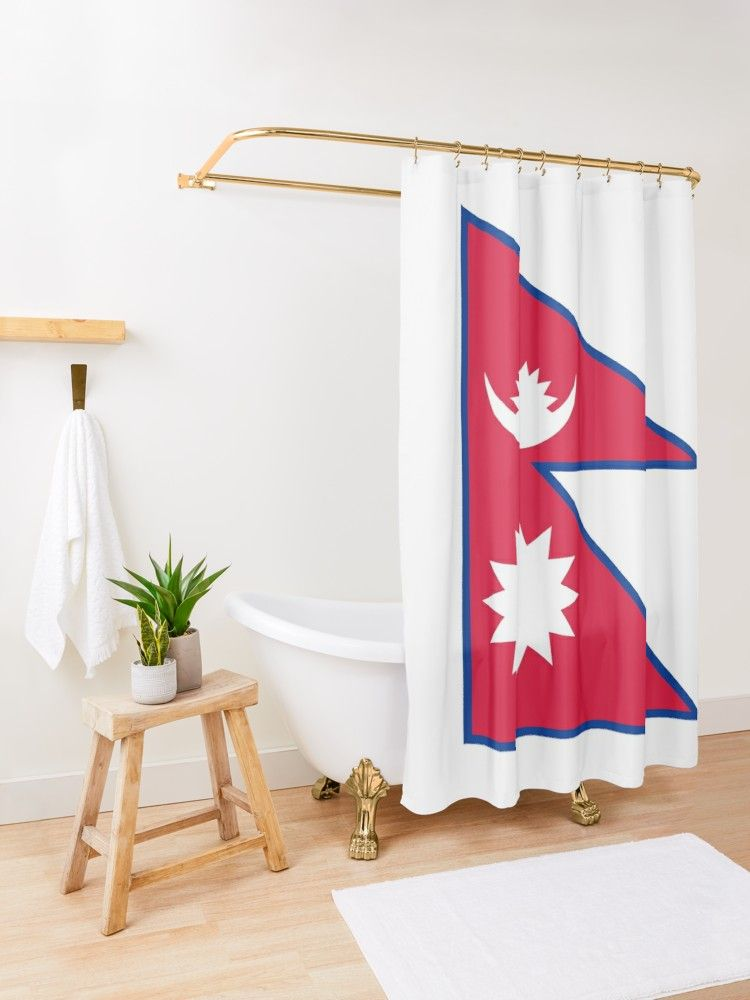 Nepal Flag Nepalese Nepali Triangle Flag Shower Curtain By