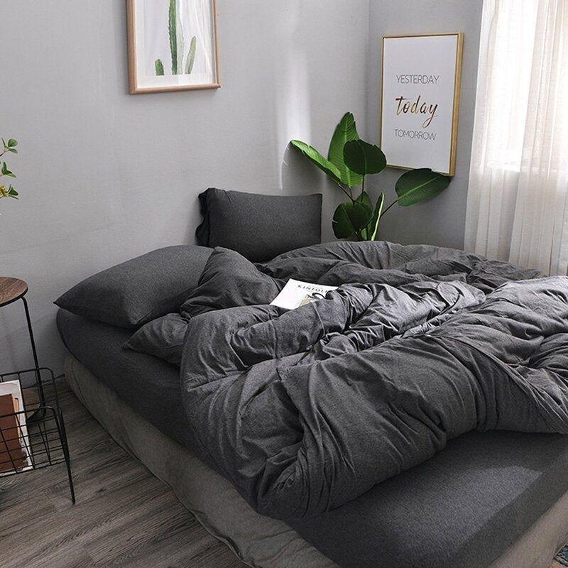 1000tc Super Soft Collection Doona Duvet Quilt Cover Set 9 Colours Dark Grey Duvet Covers Gray Duvet Cover Grey Comforter Bedroom