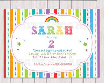 Rainbow Invitation Rainbow Birthday Invitation By Dreamyduck