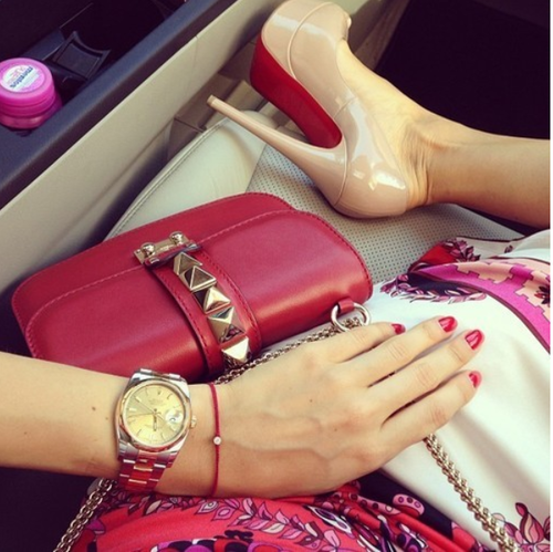 Purse, watch, and heels!