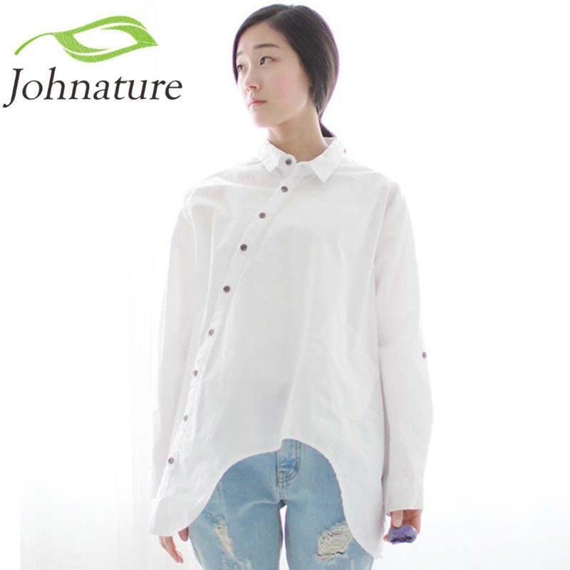 6c660edc91c11 Johnature 2017 Autumn New Women Shirt Cotton Linen Button White Blue Floral  Turn-down Collar Irregular Loose Blouse