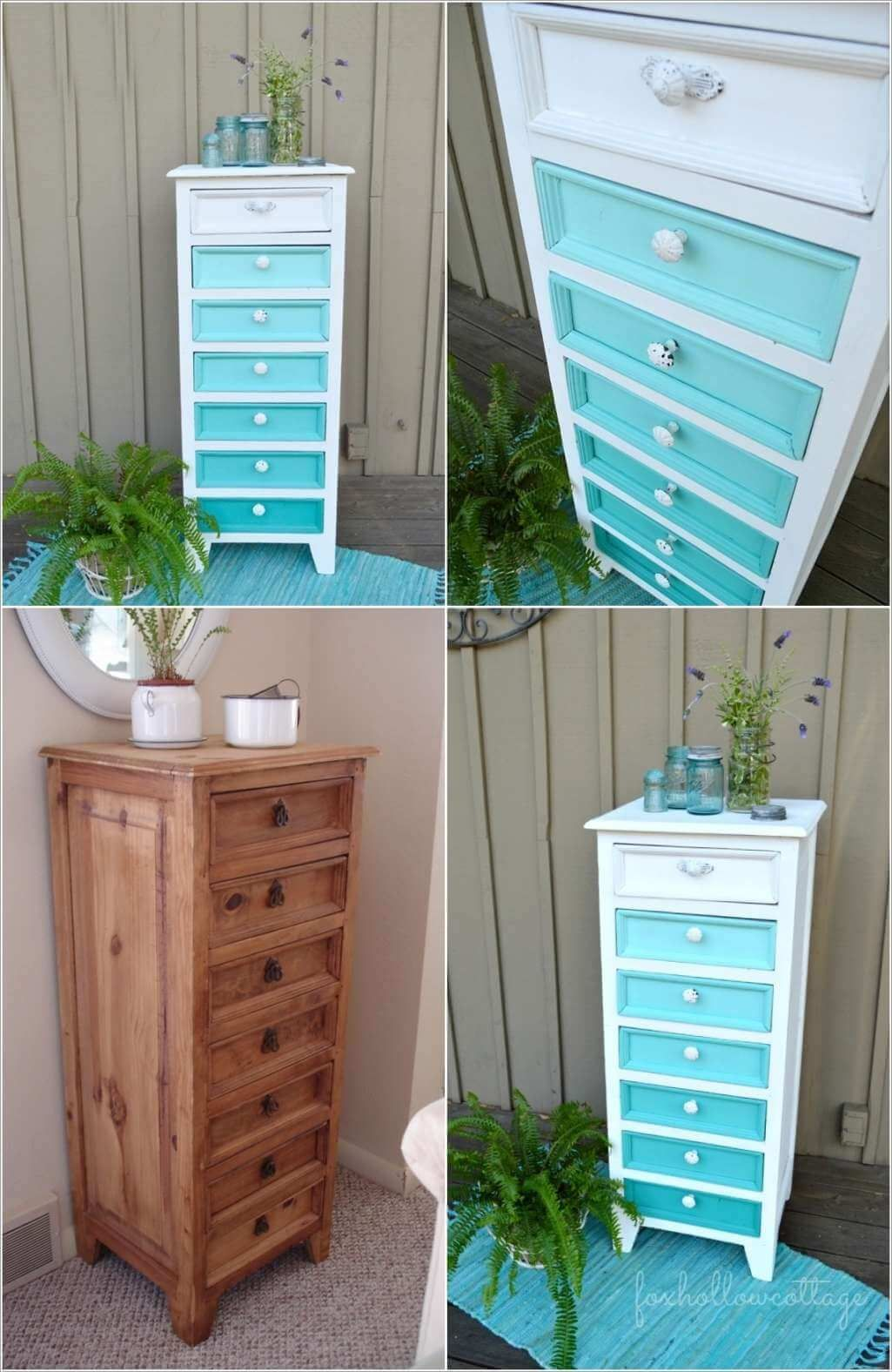 Fox Hollow Cottage Aqua Ombre Painted Furniture Makeover. A popular pin tutorial for using turquoise and white paint to create a custom finish to refresh an old piece of furniture.