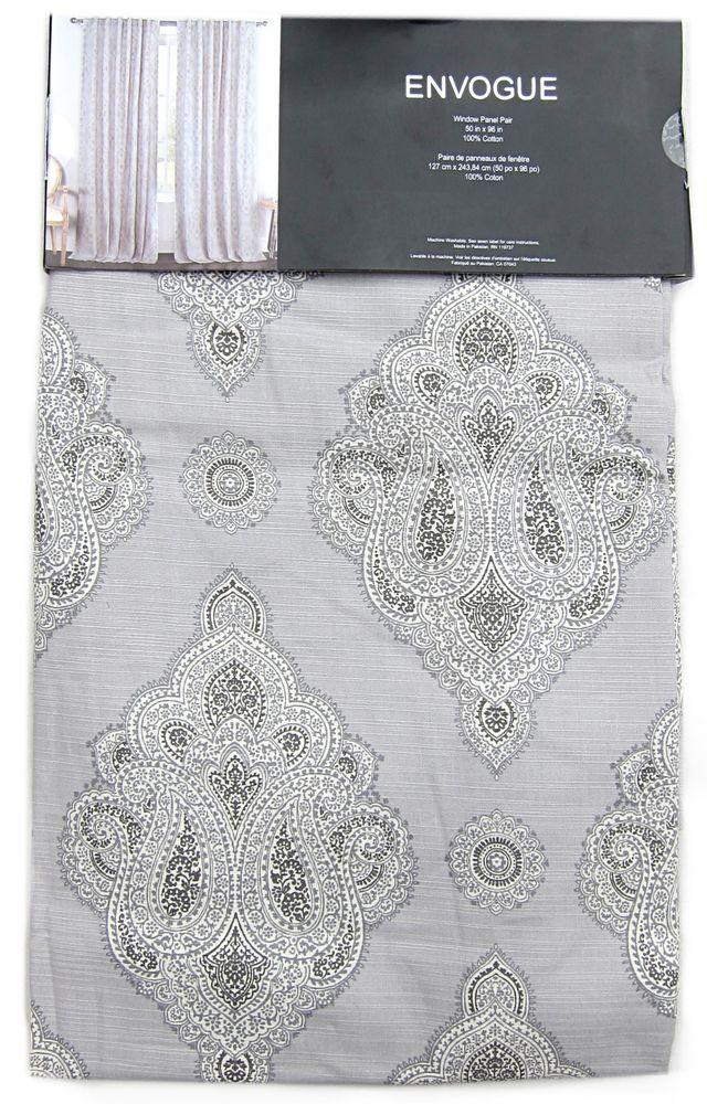 ENVOGUE Gray Ornate Medallions Window Curtain Panels Set Of 2 Drapes Pair 96 Window Treatment