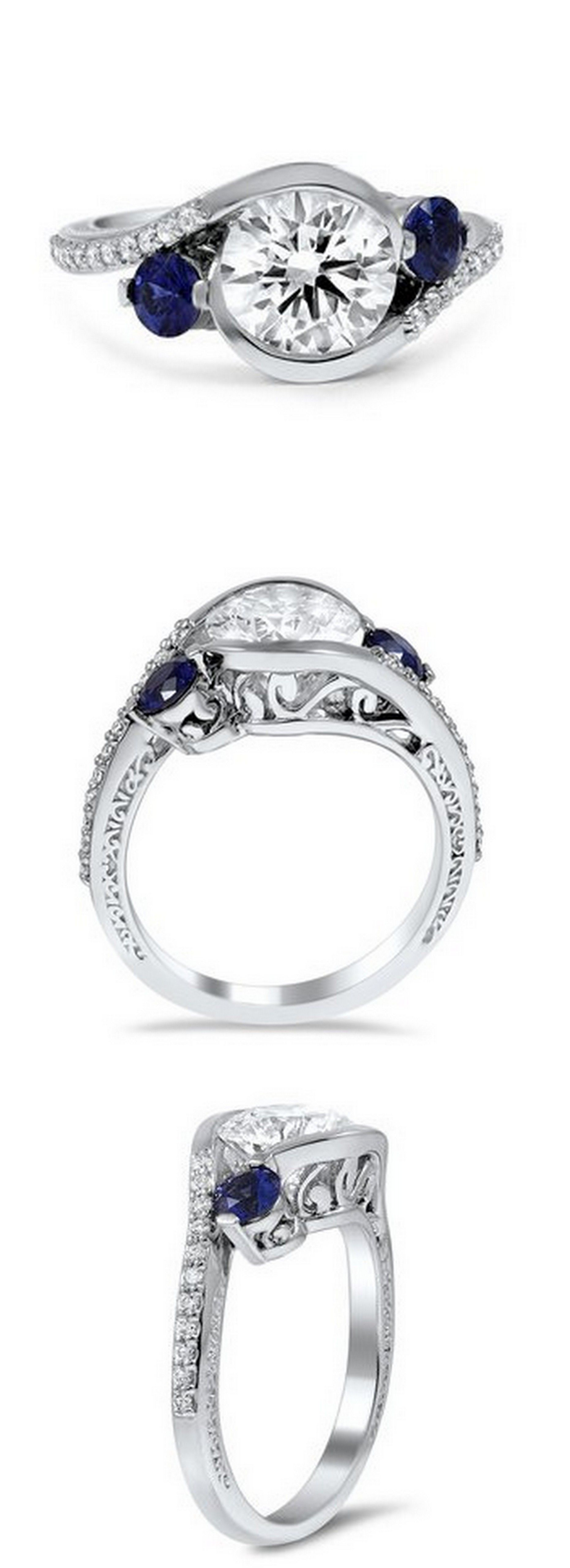 Adorned Cascade Three Stone Ring