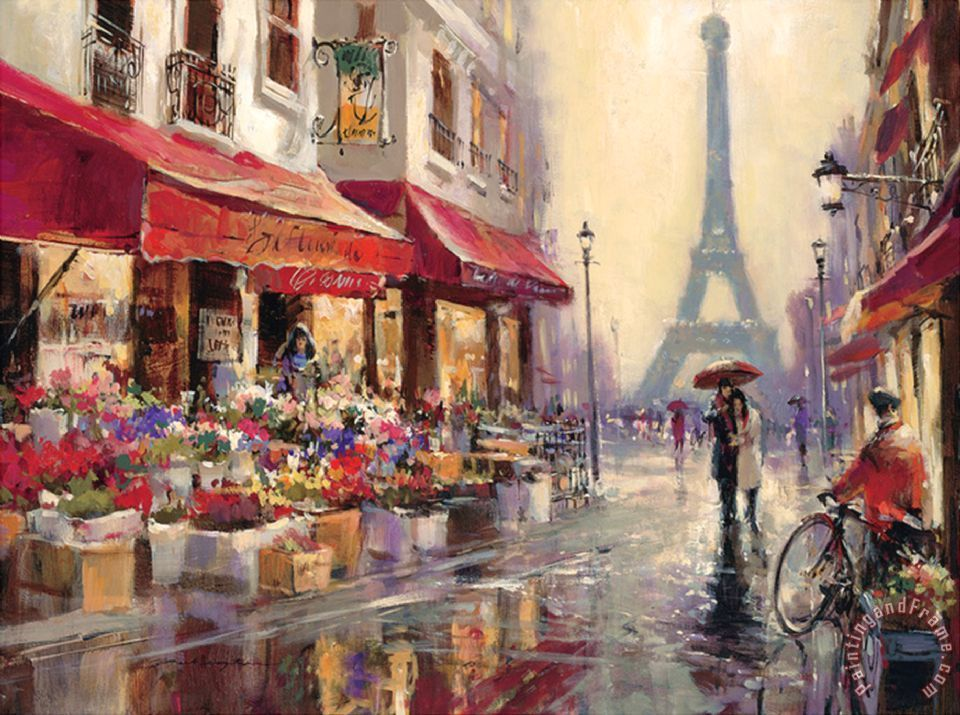 Romance Pursuit Hand Painted Paris Street Landscape Oil Painting On Canvas