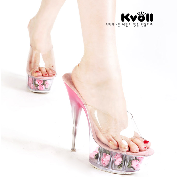 [$25.52]Cute slippers fashion flower ladies high heel shoes G16745