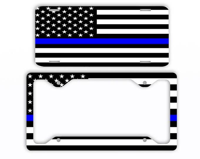 Thin Blue Line Flag American License Plate Car Tag Frame ...