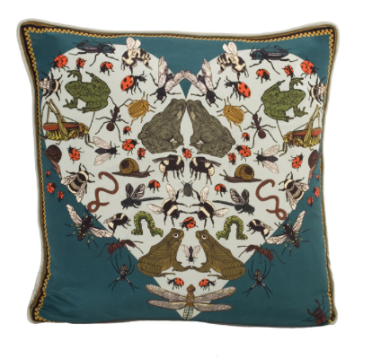 UNIQUE AMPHIBIAN AMOURS LUXURY SILK CUSHION FROM SILKEN FAVOURS  URL-http://silkenfavours.bigcartel.com/product/amphibian-amoures-silk-cushion