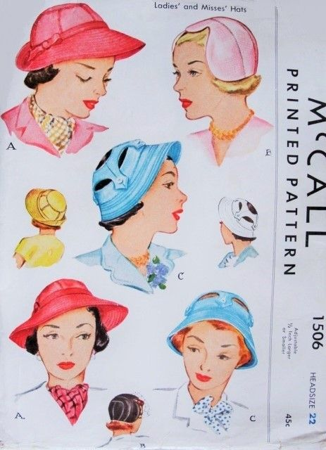 www sew in hair styles late 40s fabulous hats pattern mccall 1506 vintage sewing 1506