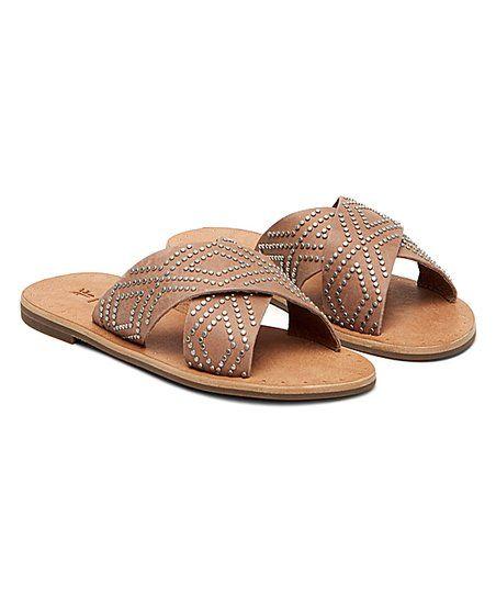 Frye Dusty Rose Ally Deco Stud Crisscross Leather Sandal