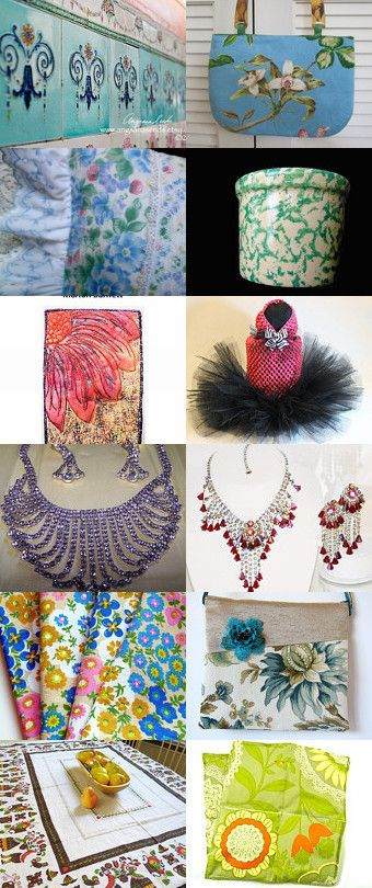 Great To Be Different by Gail on Etsy--Pinned with TreasuryPin.com #handmade #vintagedecor #vintagelinens #vintagecrock #blue #green #jewelry #pink