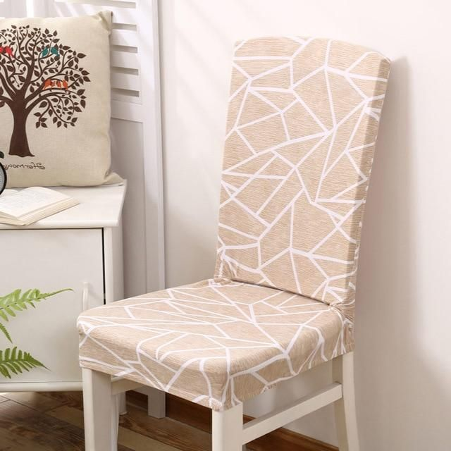 Geometric Stretch Dining Room Chair Slipcover Khaki