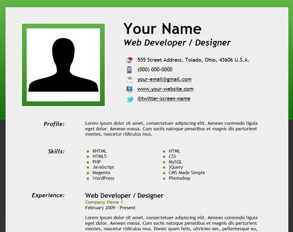 Html5 Resume With Microdata How To Make Resume Create A Resume Job Resume Template