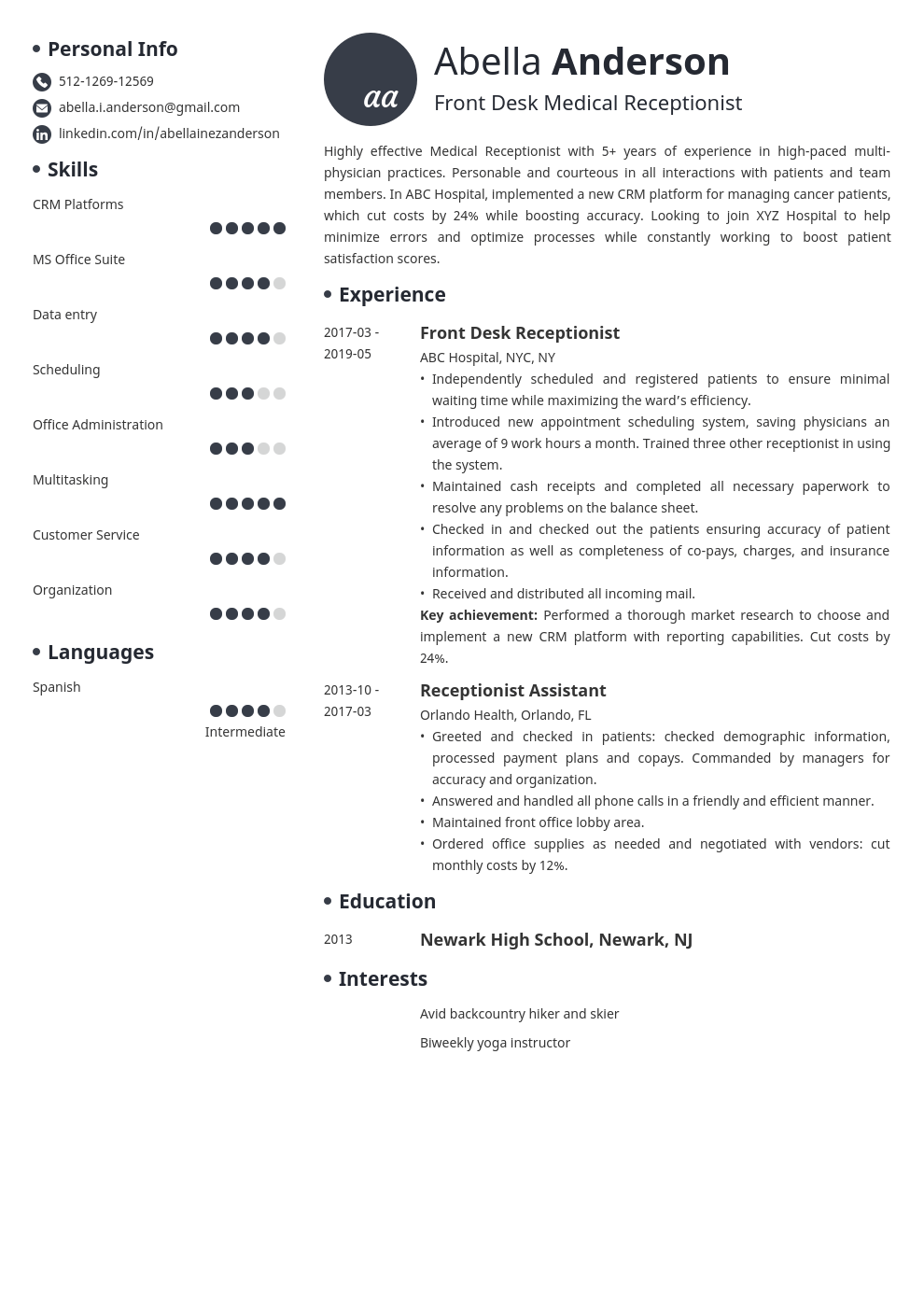 medical receptionist resume example template initials in