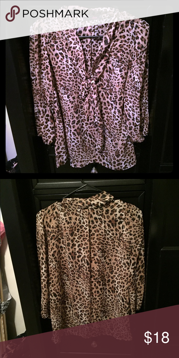 Cheetah print blouse Cute, cheetah print blouse. Ties into a bow in the front. Will accept offers! Tops Blouses