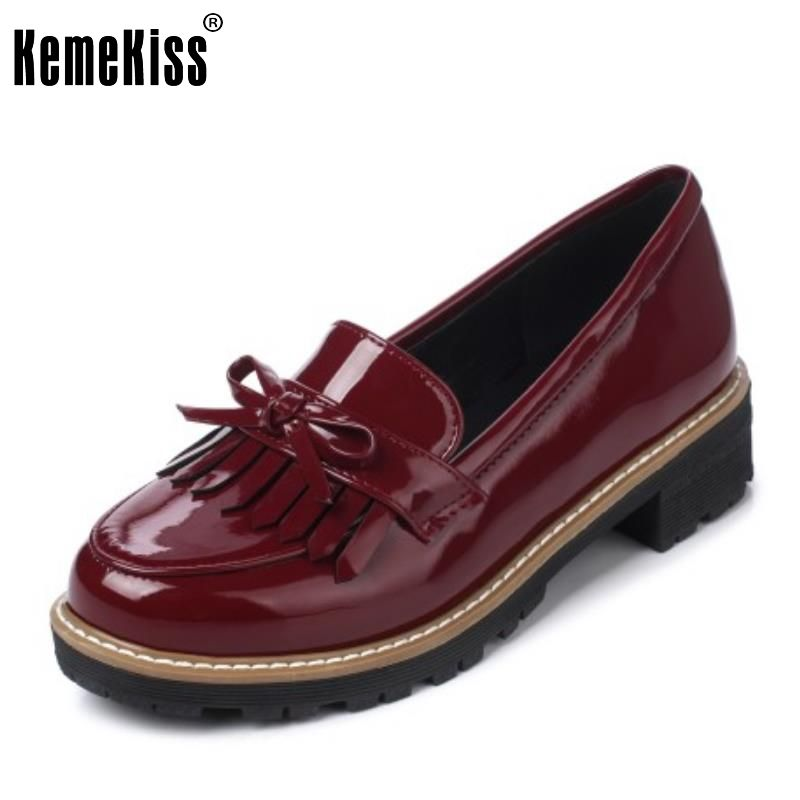 Ladies New Flats Shoes Women Patent Leather Brand Tassel Bowknot Leisure  Shoes Fashion Round Toe Slip