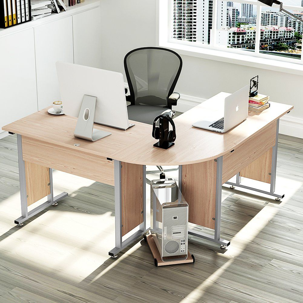 computer modern desk with hutch shaped design l