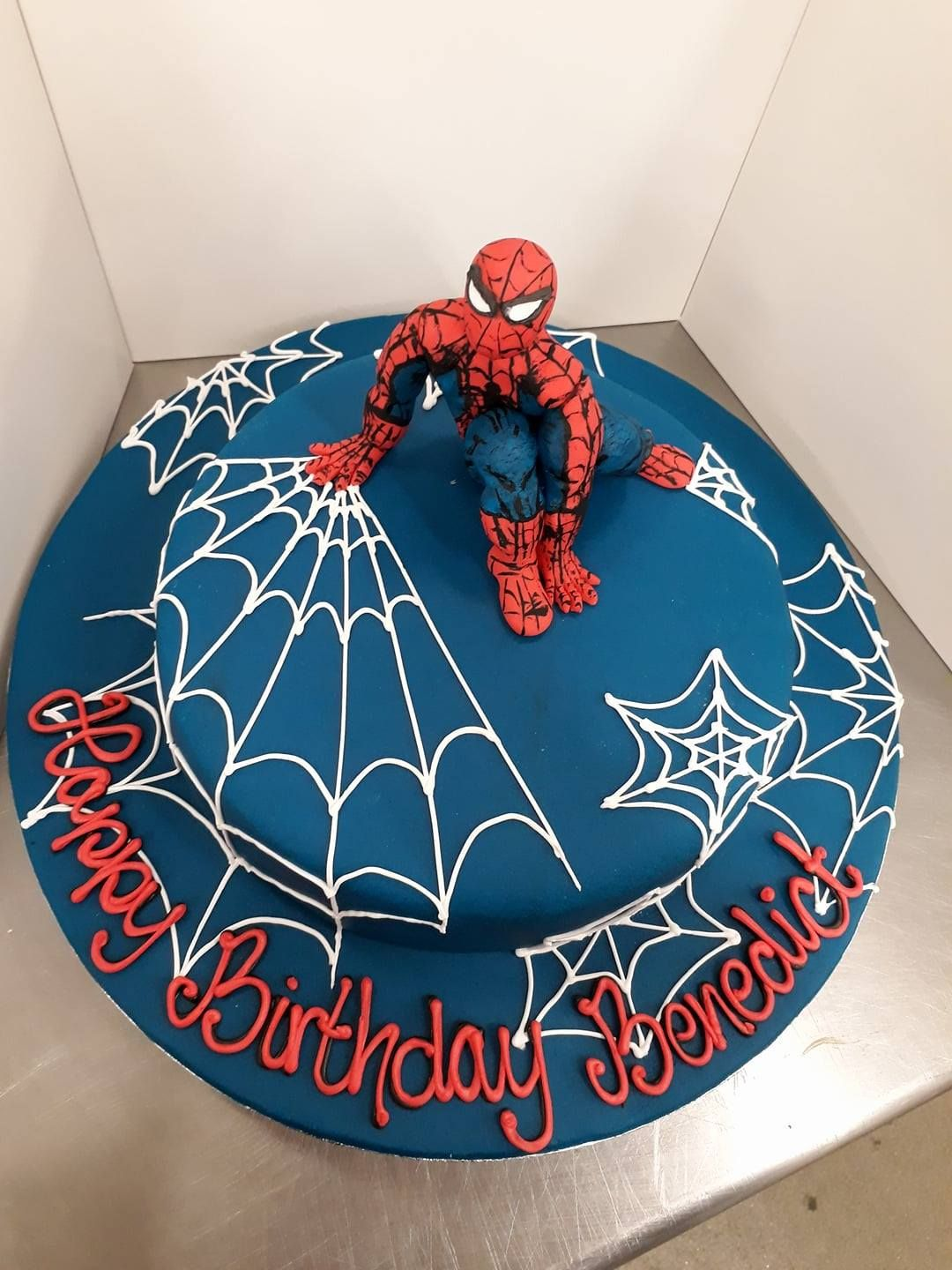 Spiderman Cake Webs Red Blue With Images Spiderman Birthday