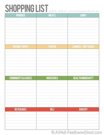 Shopping list categorized free printable for meal planning