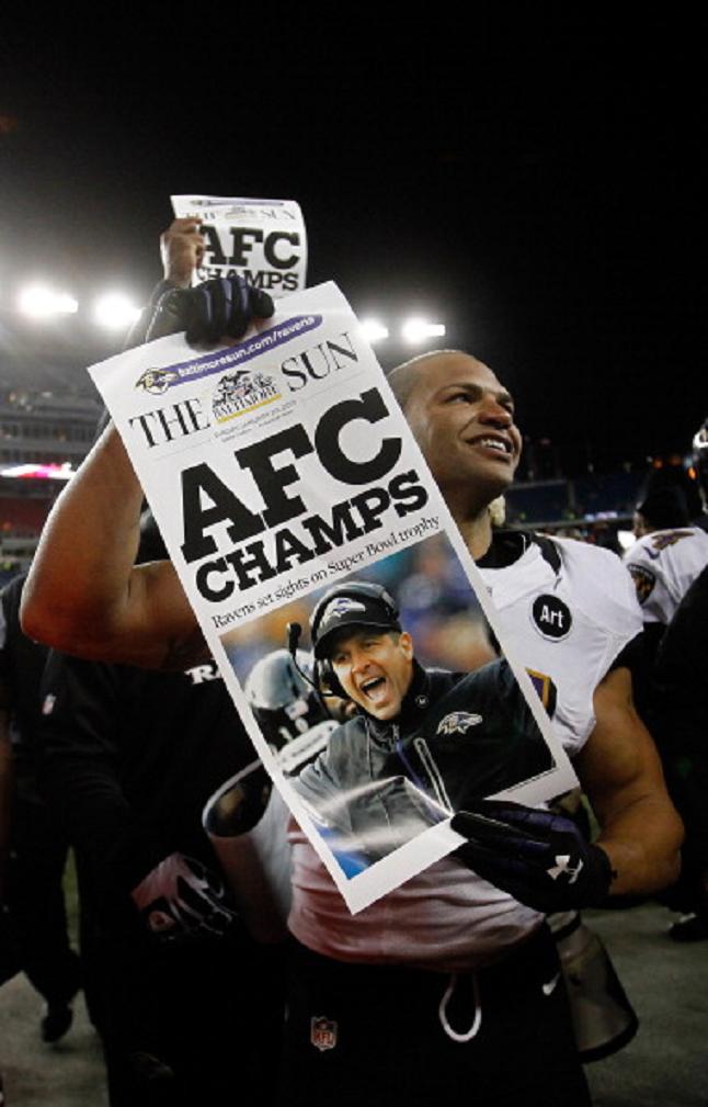 Brendon Ayanbadejo Of The Baltimore Ravens Celebrates After Defeating Baltimore Ravens Baltimore Ravens Football Ravens Players