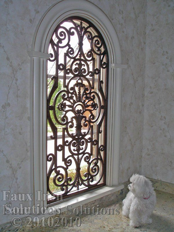 Faux Wrought Iron Arched Window Treatment | dream house ...