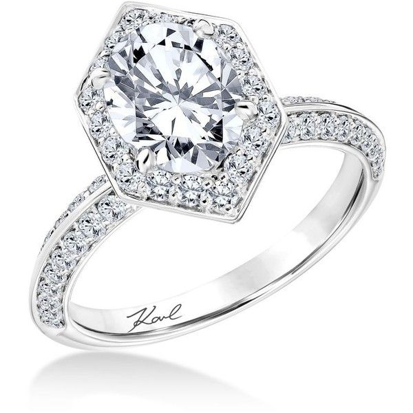 Karl Lagerfeld Diamond Hexagon Halo Engagement Ring 8250