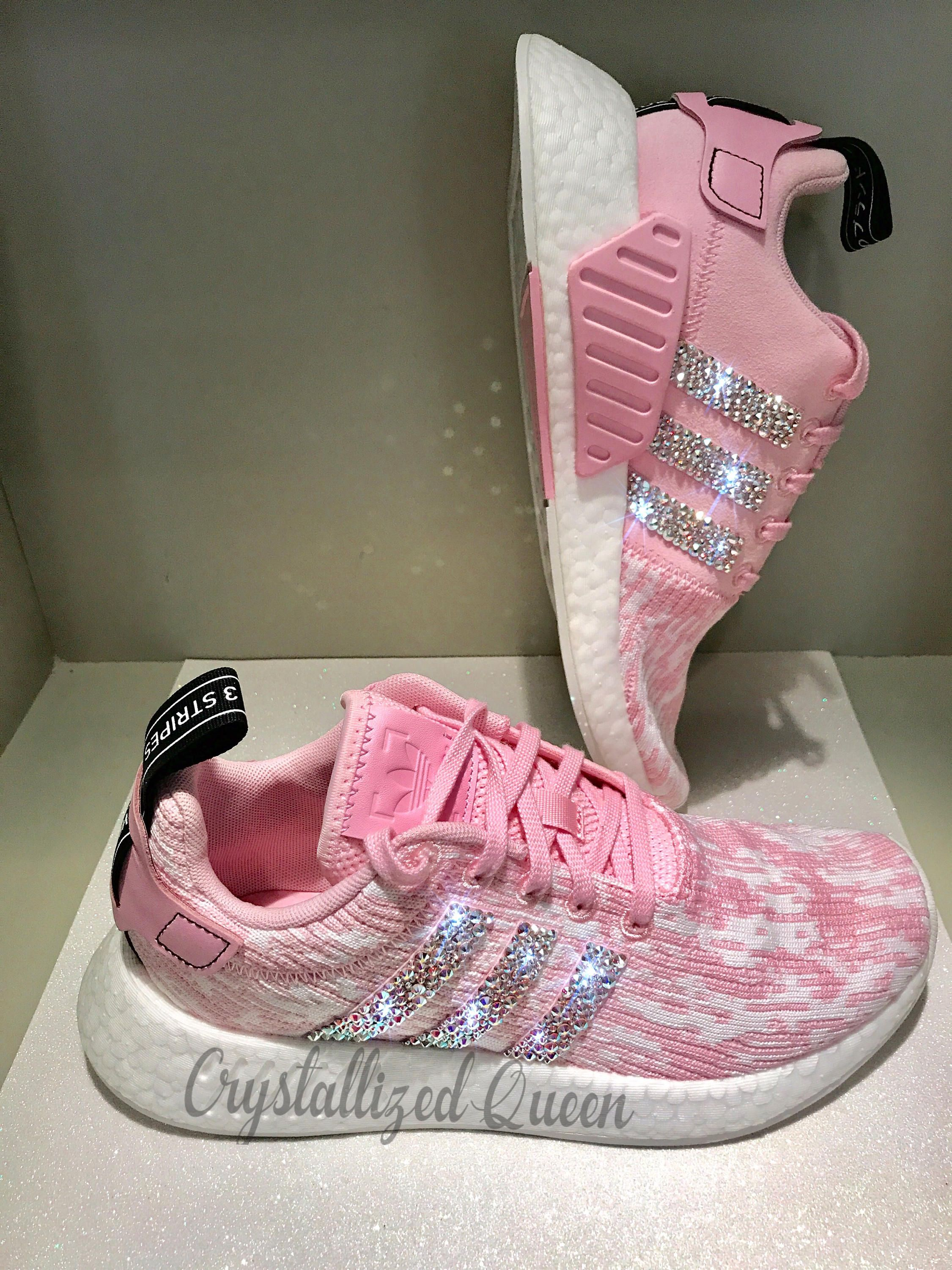 43d1087e4cd Adidas NMD R2 Pink With AB Swarovski Crystals by CRYSTALLIZEDQUEEN on Etsy