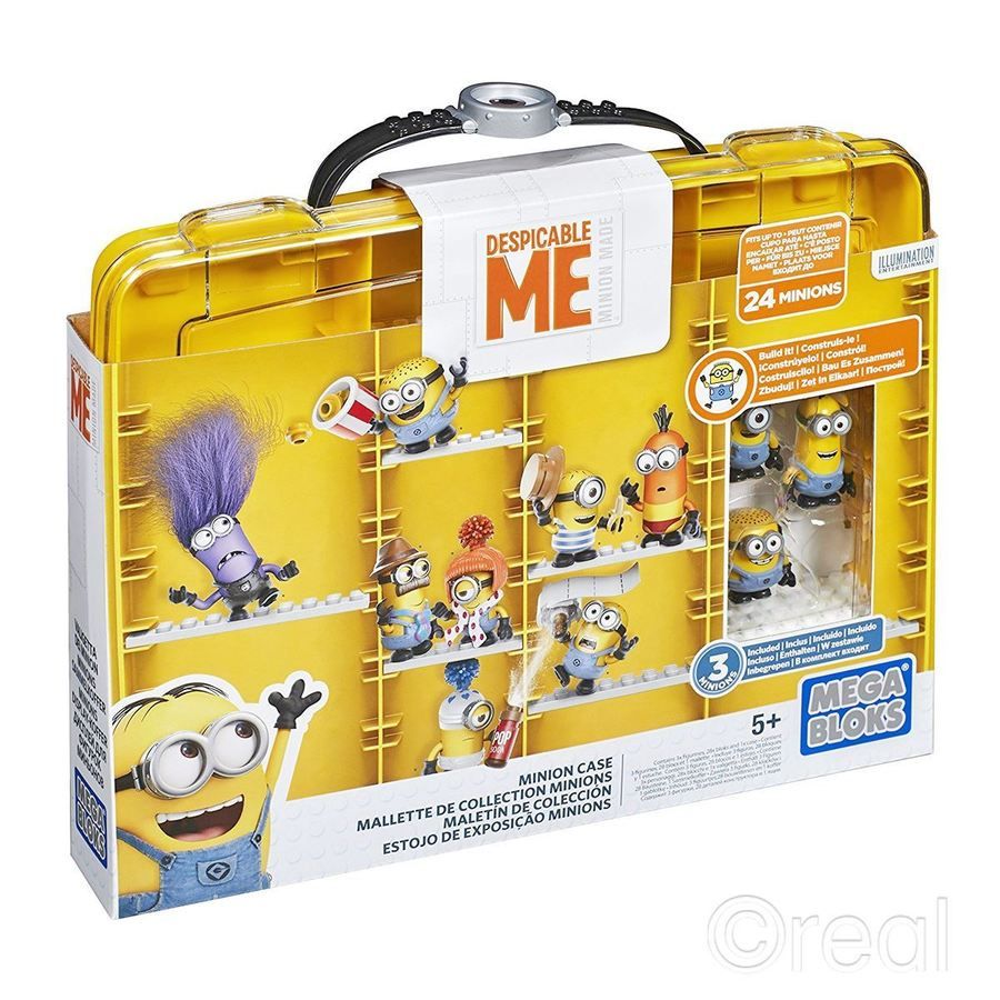 New Despicable Me Minions Display Case & 3 Figures Mega