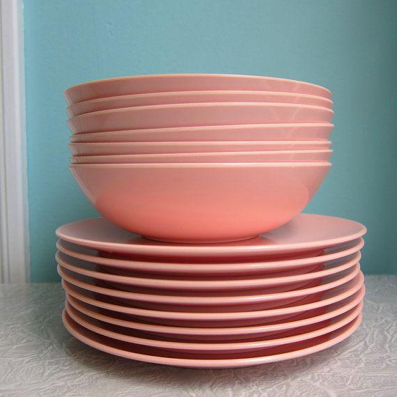 22 Vintage Pink Melamine Dishes