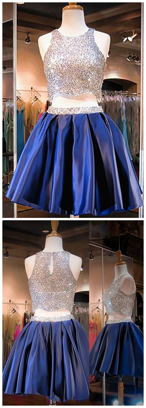 Two piece crew open back short navy blue satin homecoming dress with