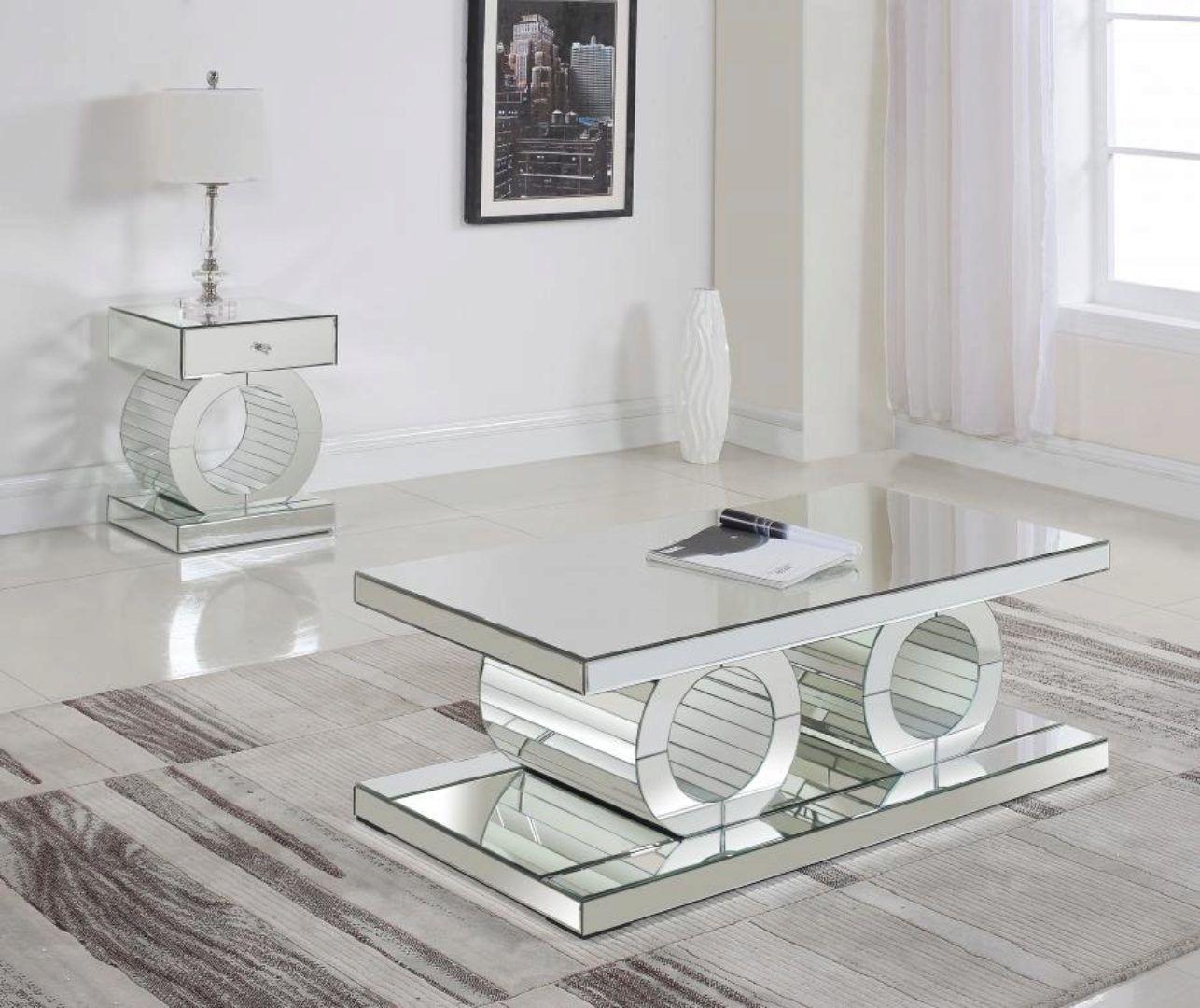 Modern Crystal Acrylic Coffee End Table Set 2pcs Meridian Furniture Jocelyn 227 Set 2 Mirrored Furniture Decor Coffee Table Meridian Furniture [ 1080 x 1286 Pixel ]