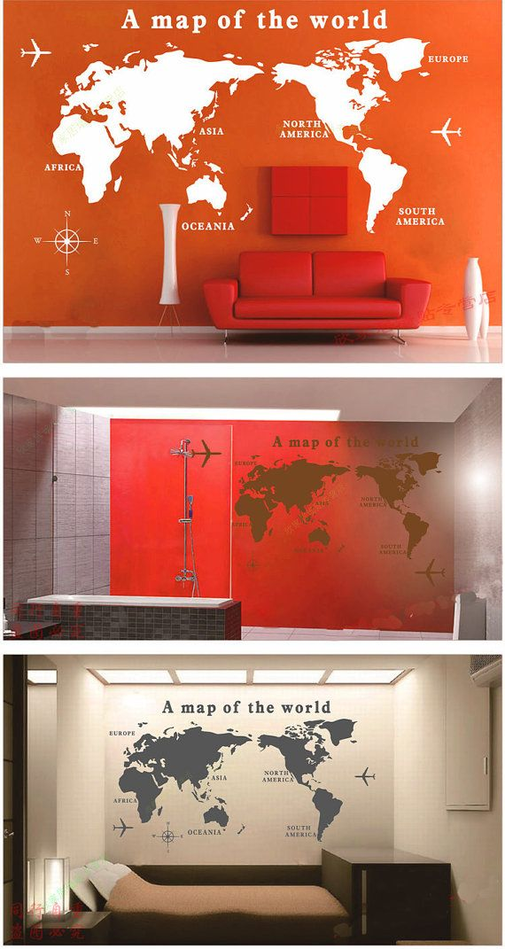 Medium size world map vinyl sticker world map wall sticker living medium size world map vinyl sticker world map wall sticker living room wall stickers gumiabroncs Images