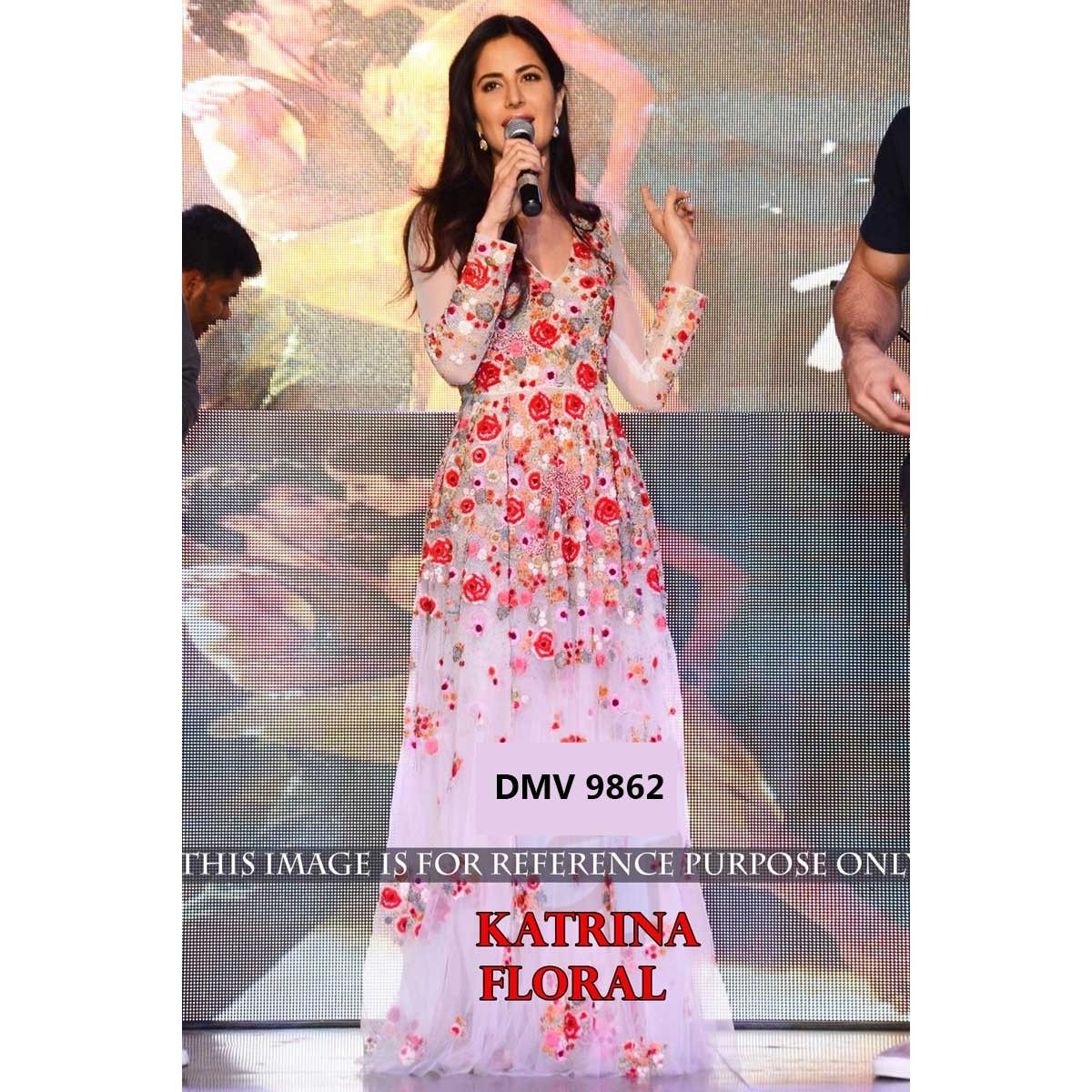 Buy Katrina Kaif Pink & White Floral Bollywood Gown from the house ...