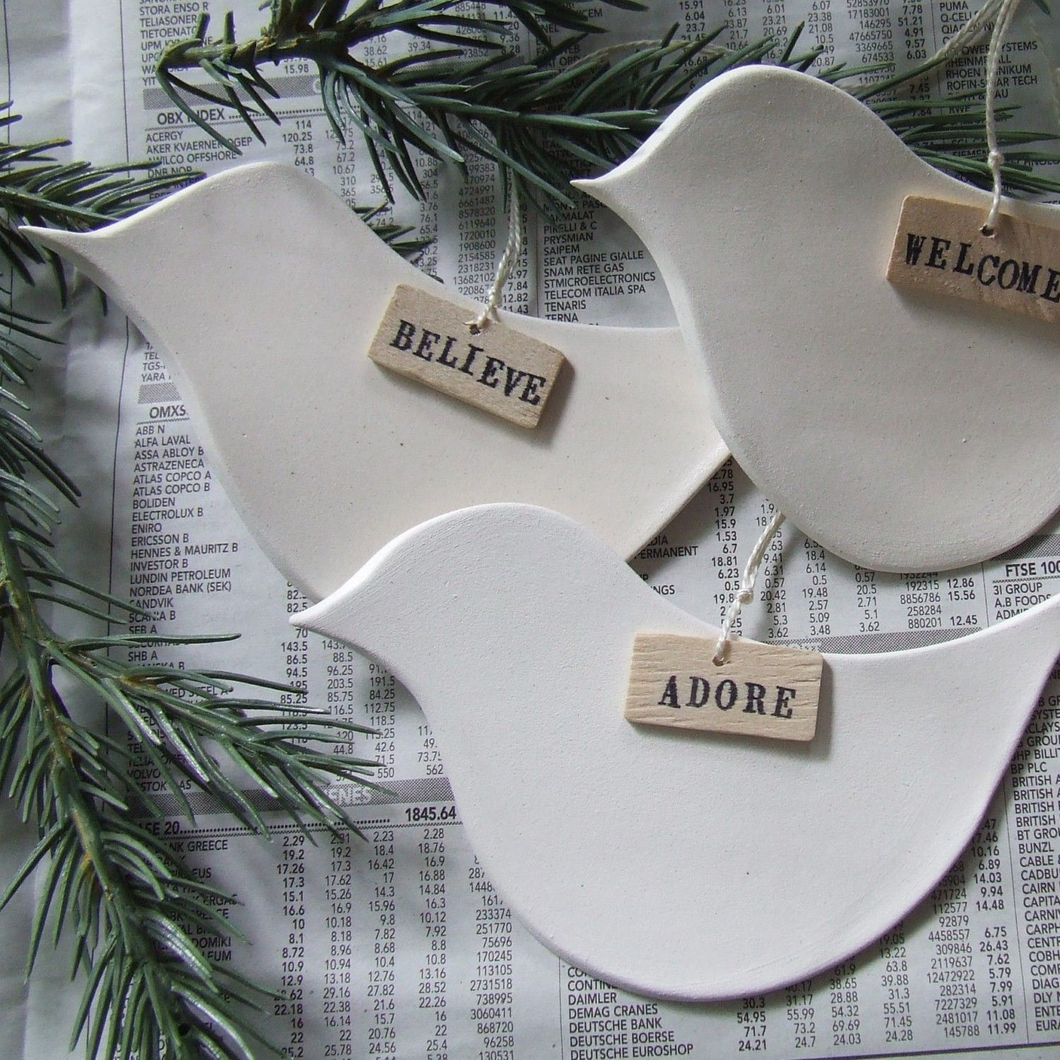 white dove christmas ornaments