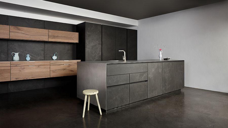 Je kan de betonnen keuken ook combineren met bijvoorbeeld een RVS - ballerina küchen preise