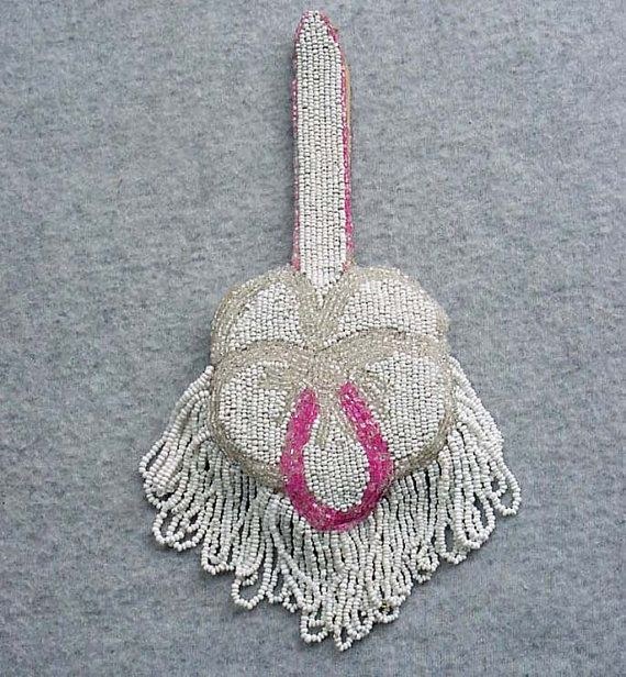 Pink Pansy Beaded Purse Art Deco 1920's Fringed Evening Bag With Gold Powder Compact White Clear Glass Bead Strap Handle Dance Pouch Handbag
