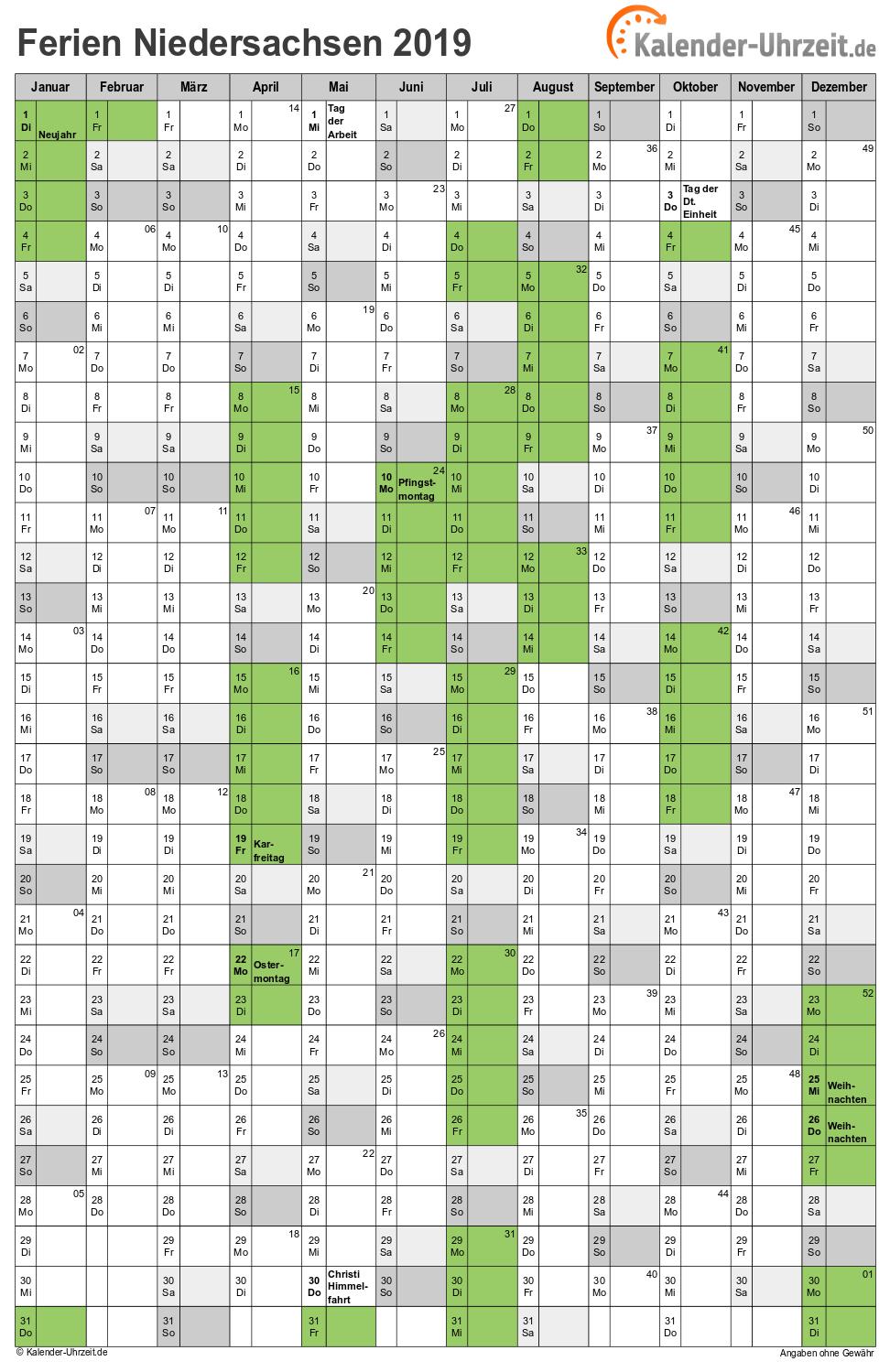 Ferienkalender niedersachsen