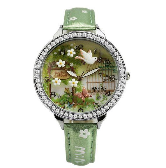 women: Handmade Miniature Secret Garden Ceramic Watch by Twinkle2Star, $29.50