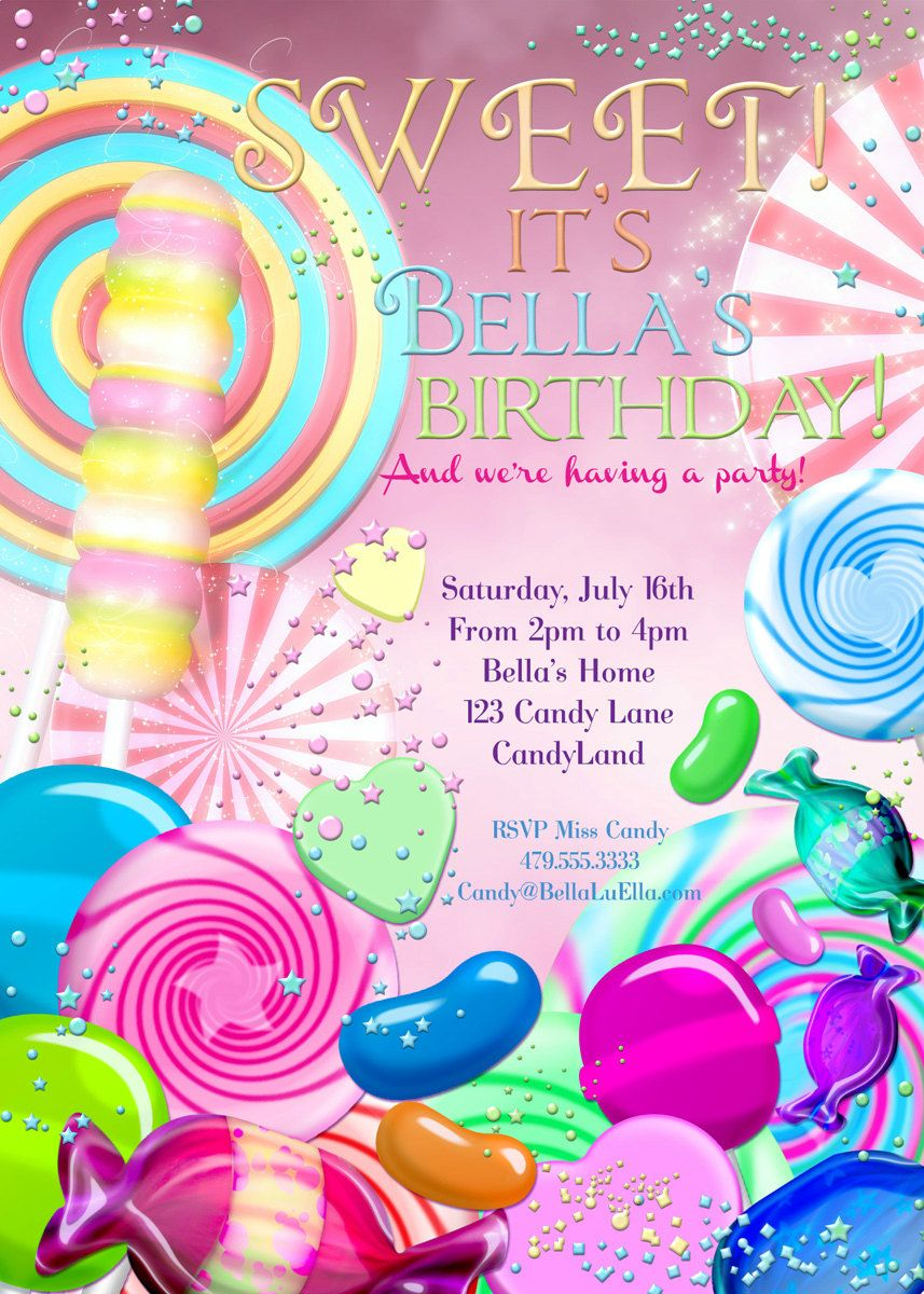 Candy Land Birthday Party Invitation, Birthday Party Invitations ...