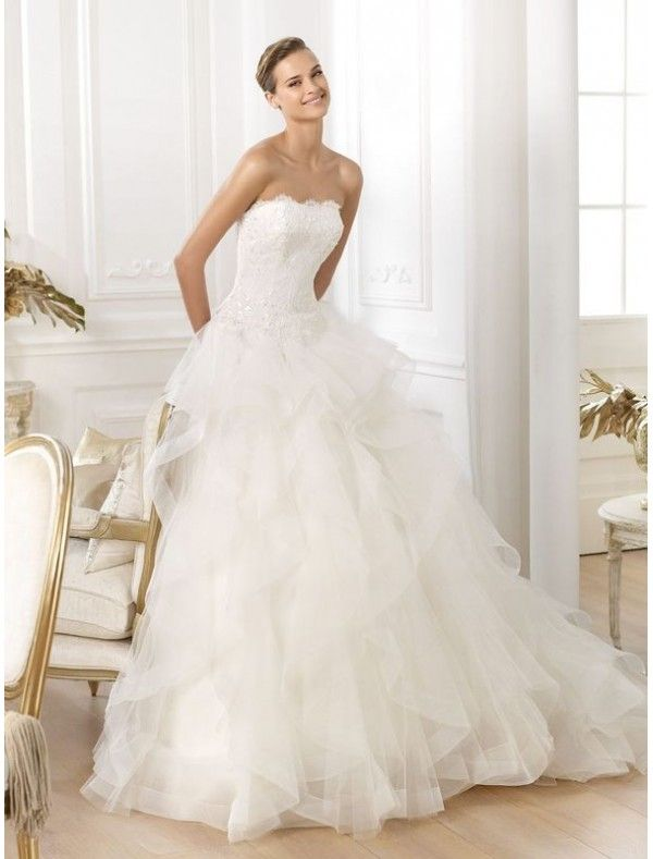 Organza Strapless Ball Gown Wedding Dress With Frills Skirt Ps0057